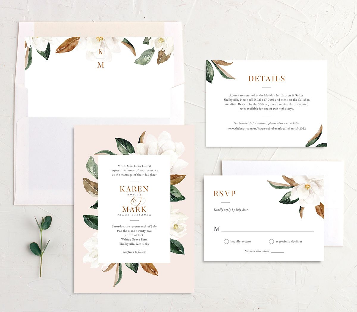 Painted Magnolia Wedding Invitation suite in pink