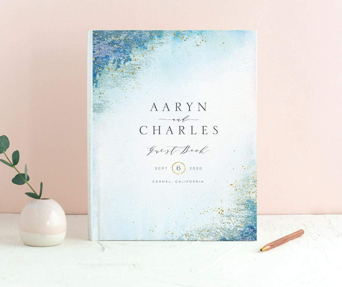 Organic Luxe Wedding Guest Book front blue