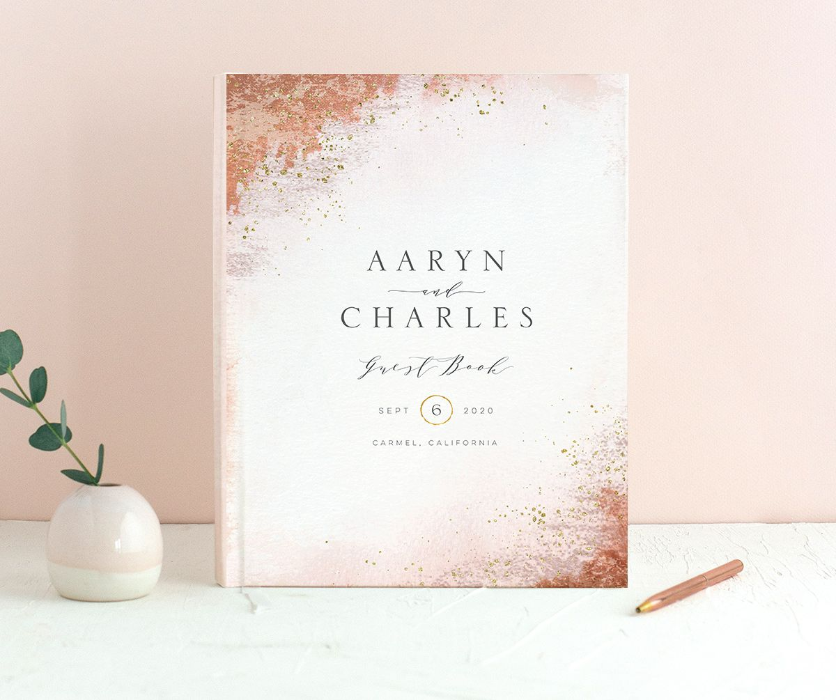 Organic Luxe Wedding Guest Book front orange