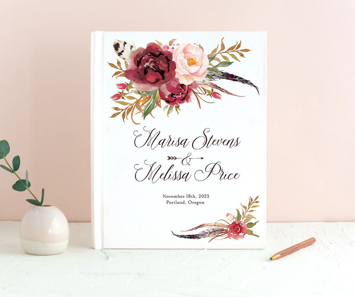 Bohemian Floral Wedding Guest Book front burgundy