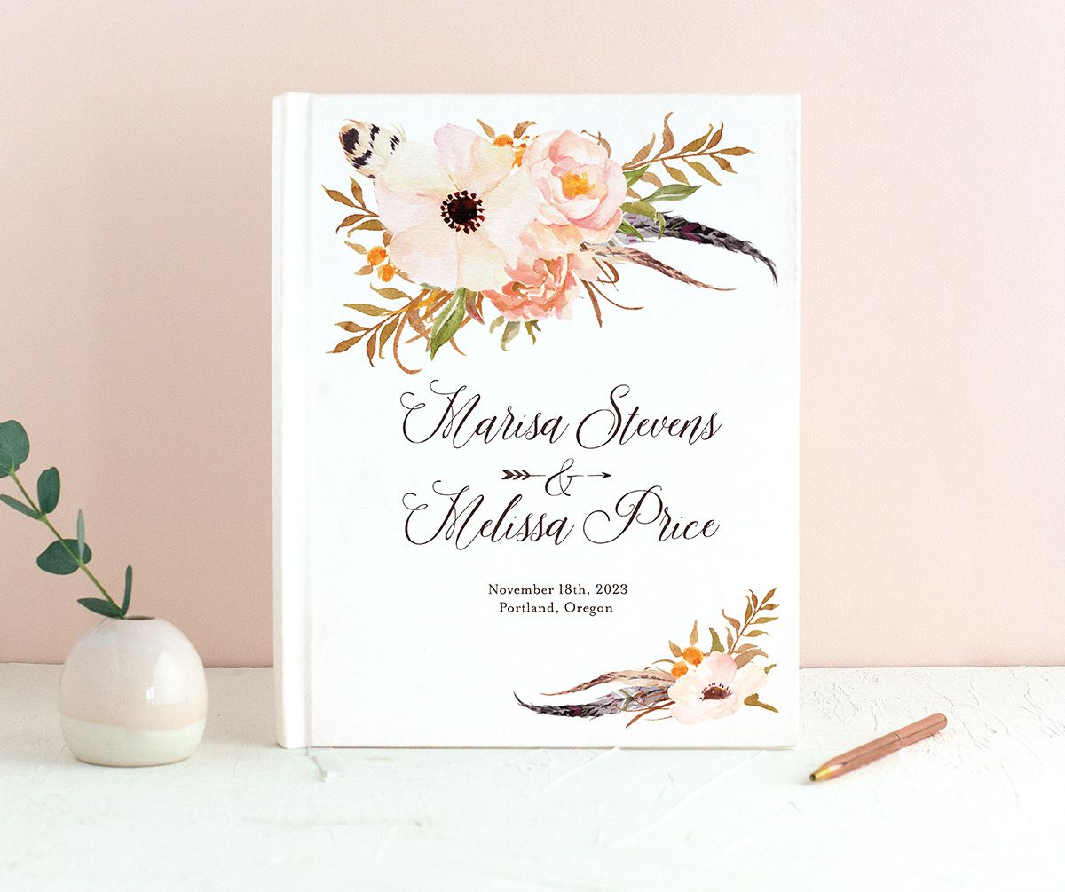 Bohemian Floral Wedding Guest Book front peach