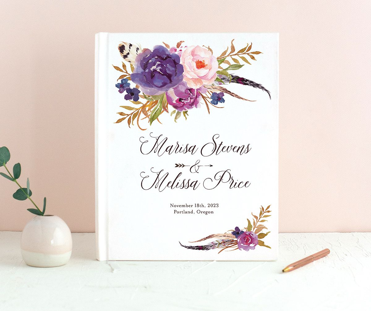 Bohemian Floral Wedding Guest Book front purple