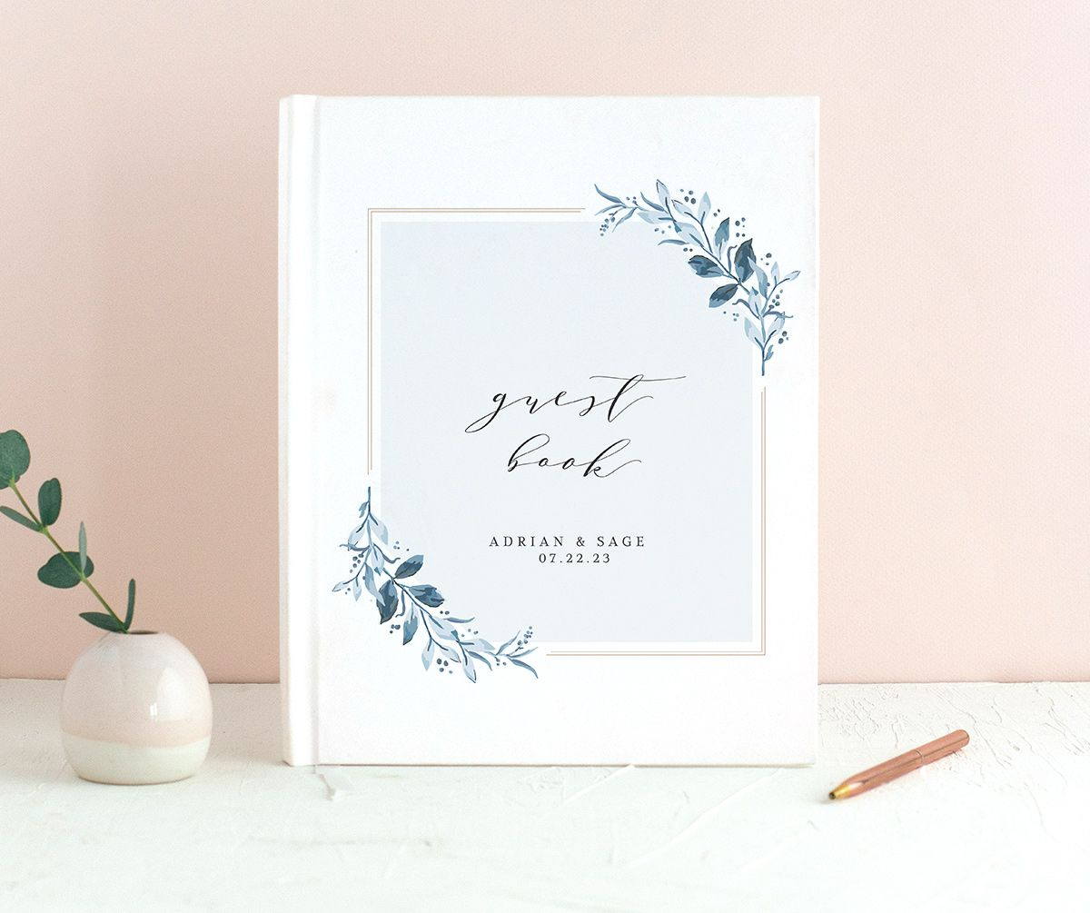 Classic Greenery Wedding Guest Book front in blue