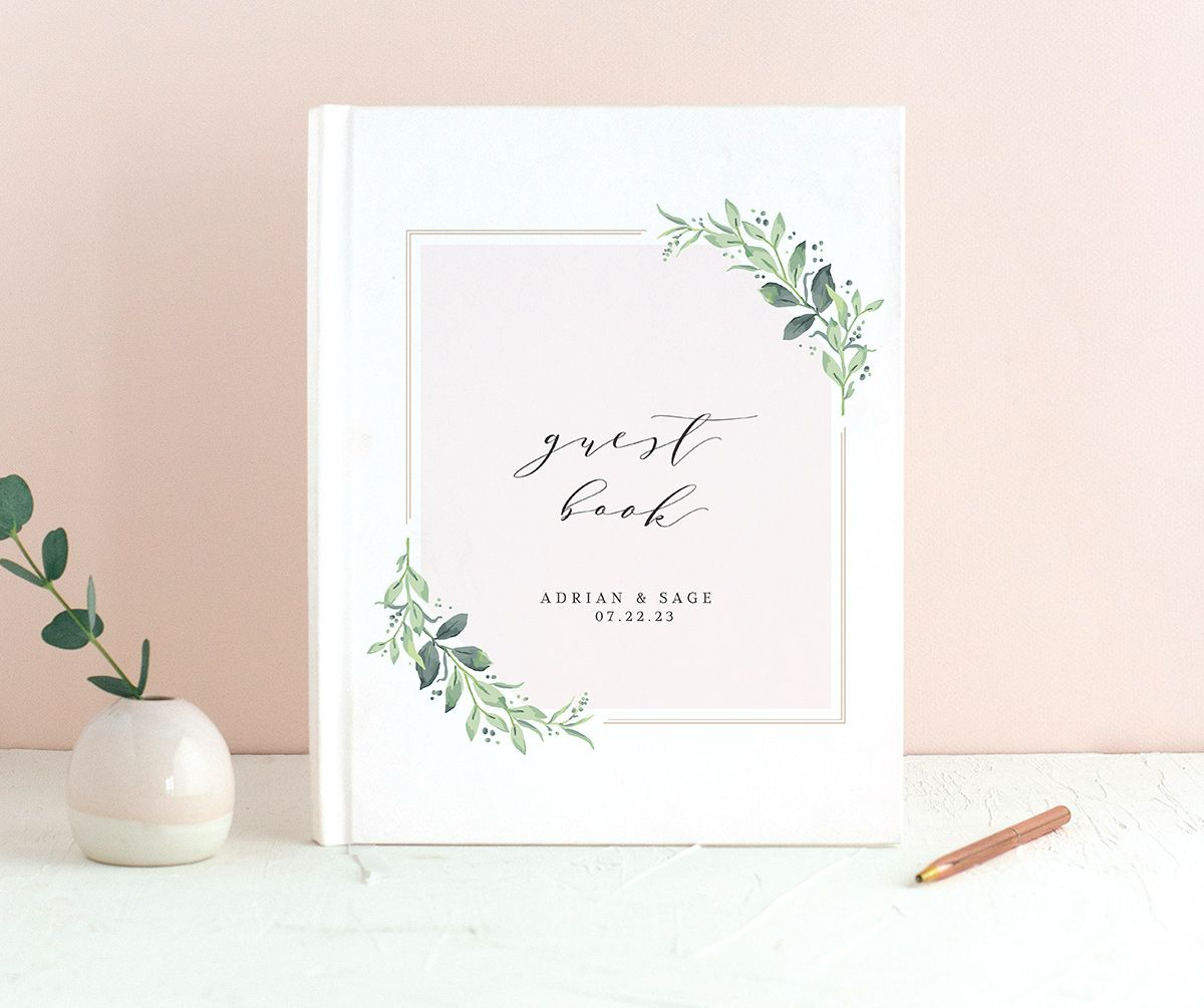 Classic Greenery Wedding Guest Book front in pink