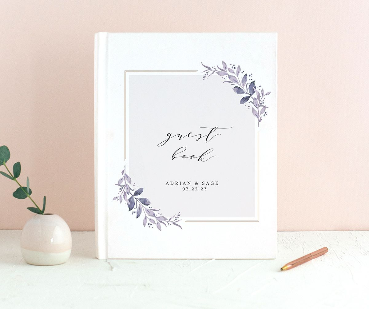 Classic Greenery Wedding Guest Book front in purple