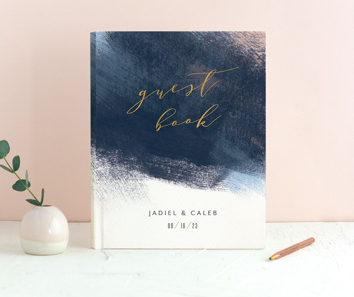 Modern Brushstroke Wedding Guest Book Blue