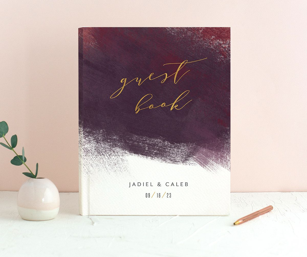 Modern Brushstroke Wedding Guest Book burgundy