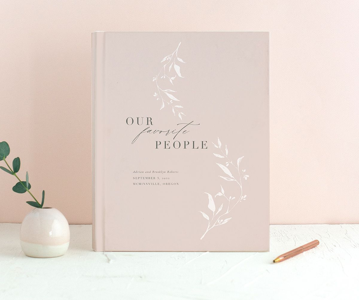 Rustic Minimal Wedding Guest Book in pink