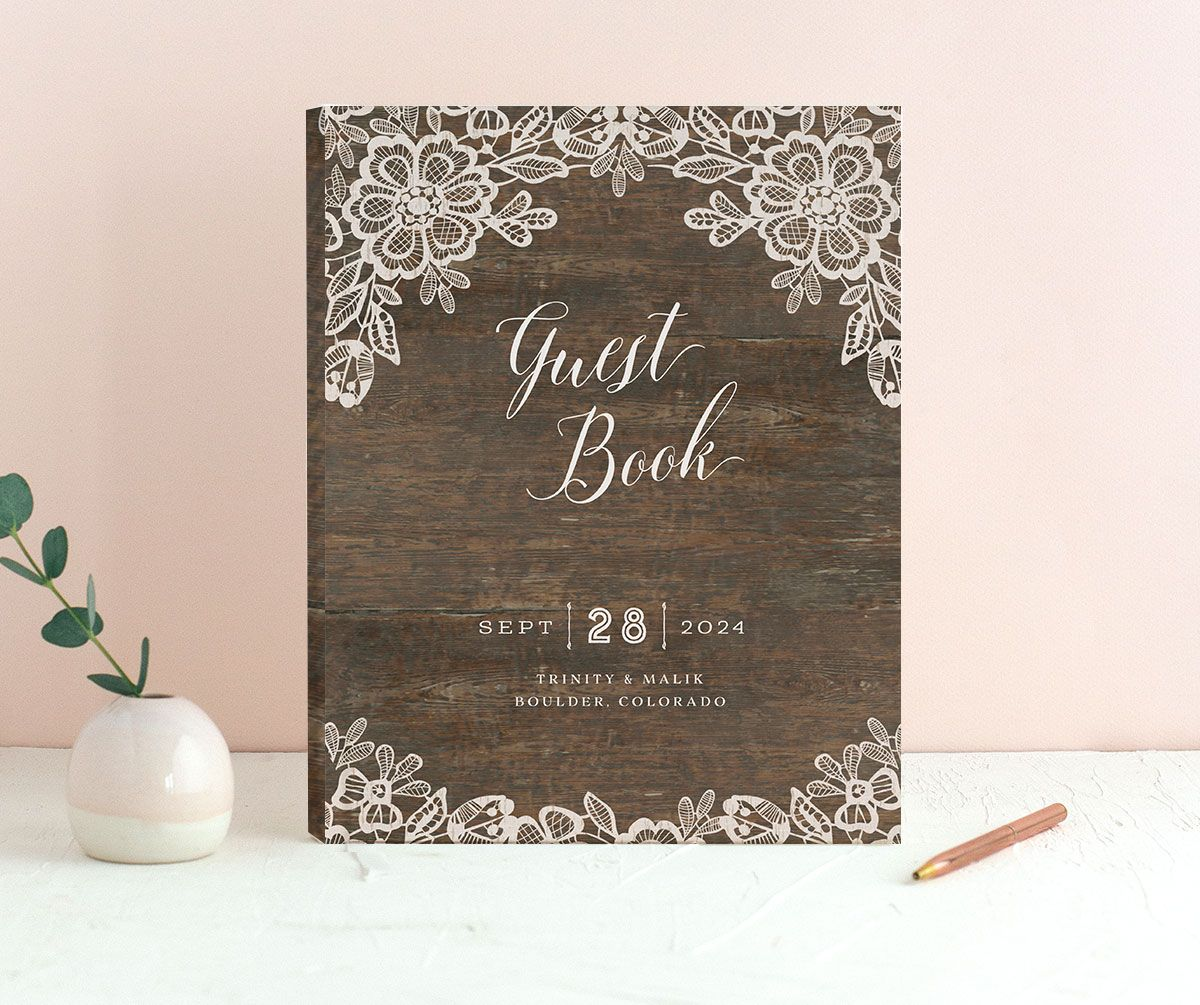 Woodgrain Lace Wedding Guest Book front