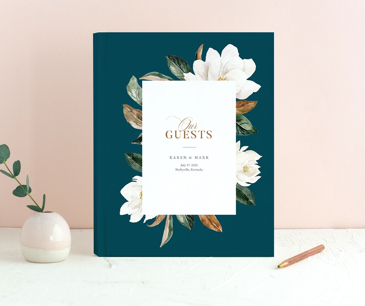 Painted Magnolia Wedding Guest Book front in teal