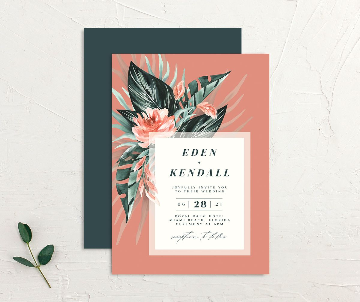 Mod Trop Wedding Invitation front & back in pink