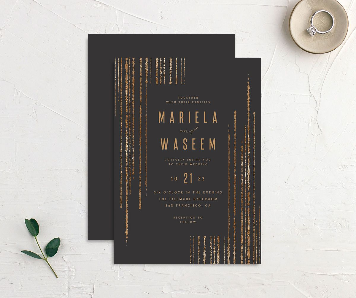 Classic Cascade Wedding Invitation front & back in black