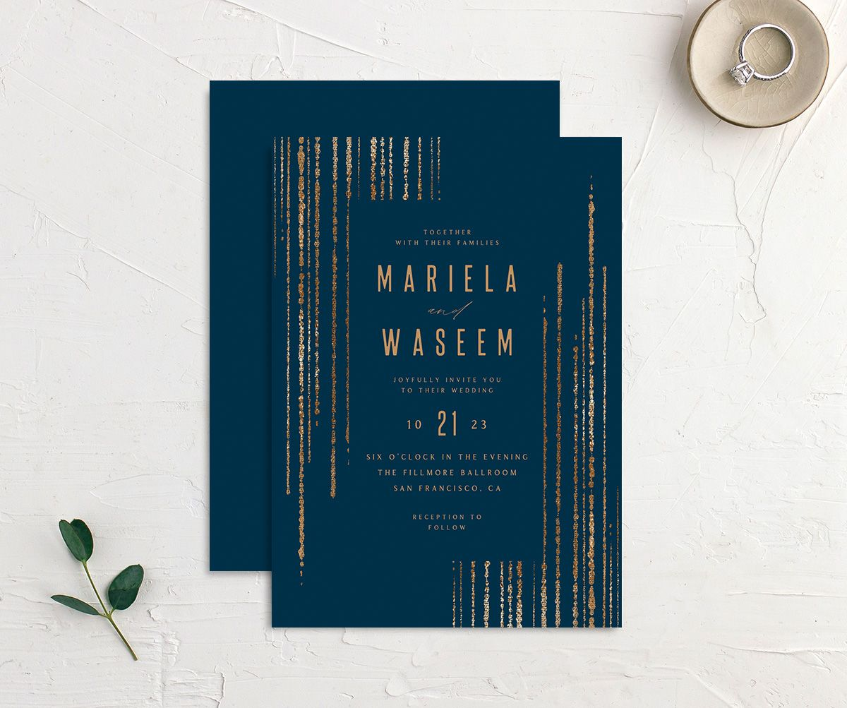 Classic Cascade Wedding Invitation front & back in navy
