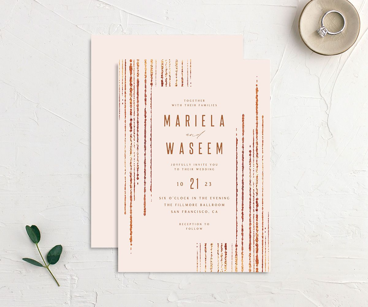 Classic Cascade Wedding Invitation front & back in pink