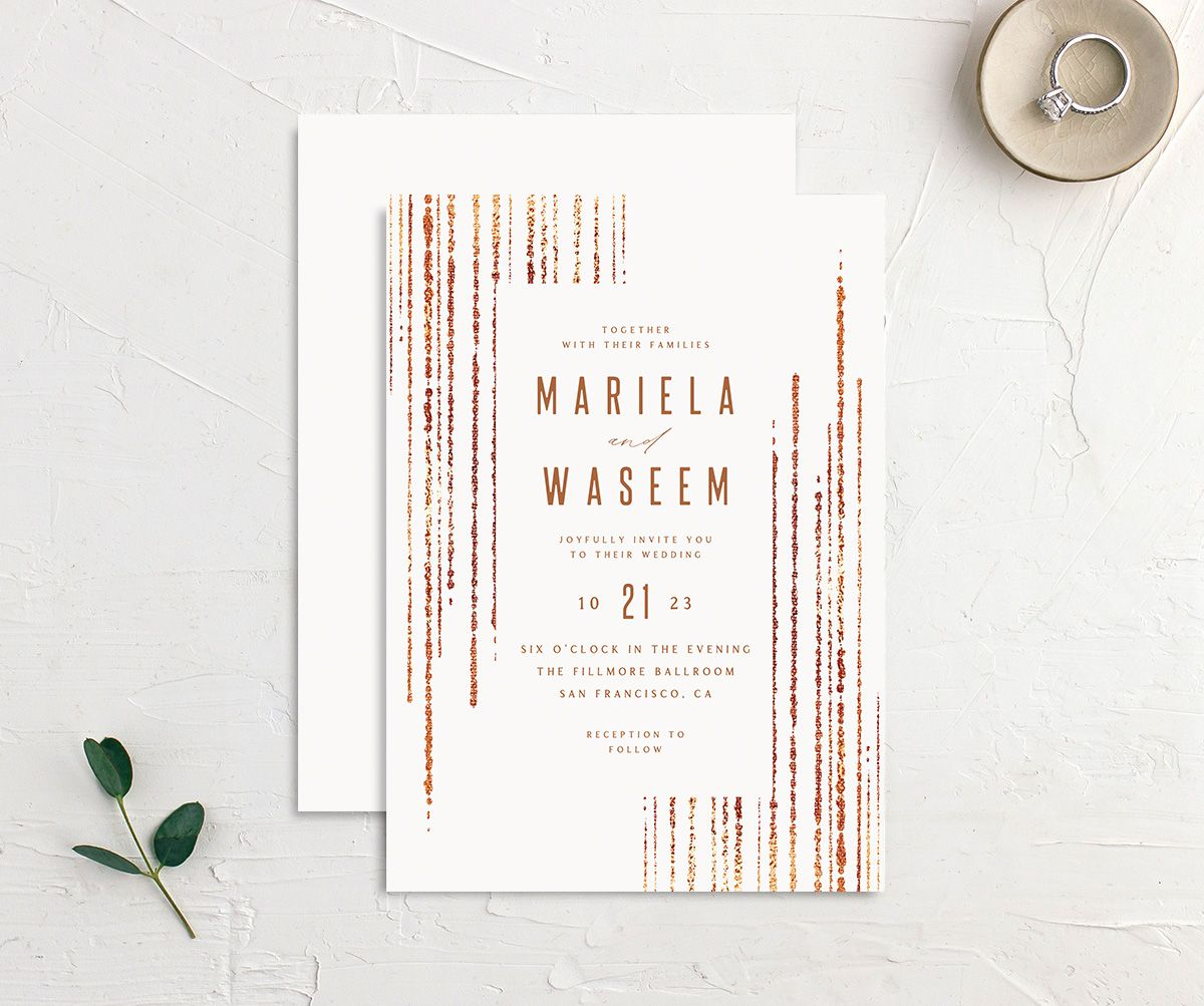 Classic Cascade Wedding Invitation front & back in white