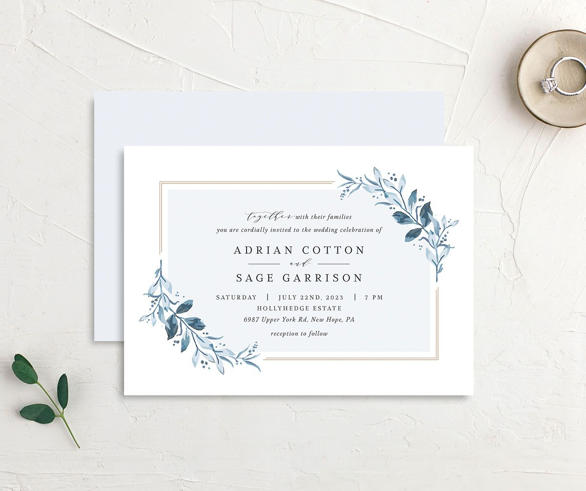 Classic Greenery Wedding Invitation front & back in blue