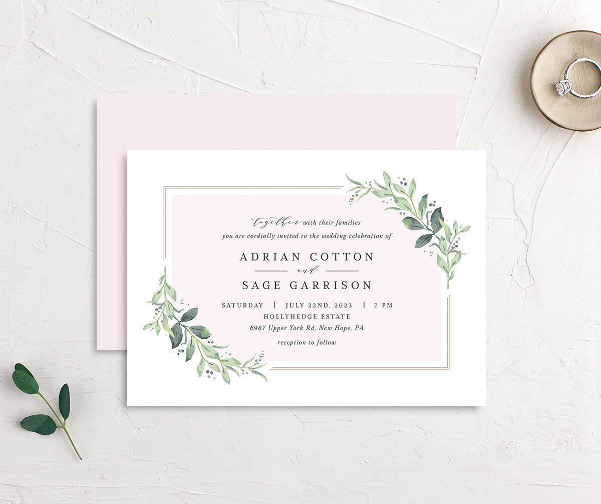 Classic Greenery Wedding Invitation front & back in pink