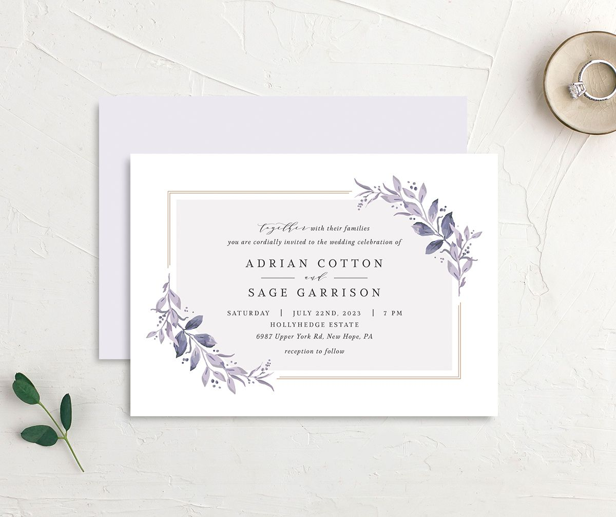 Classic Greenery Wedding Invitation front & back in purple