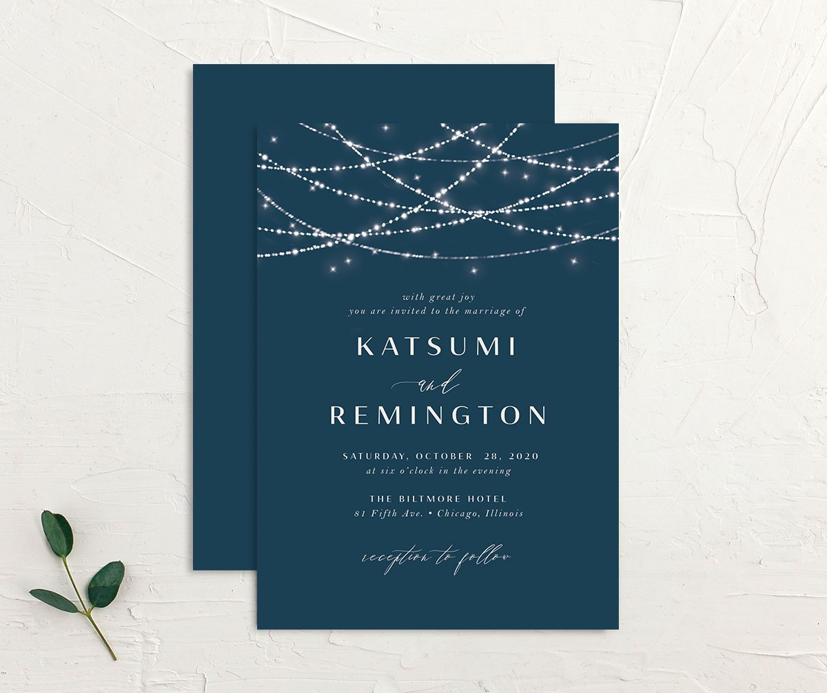 Elegant Lights Wedding Invitation front & back