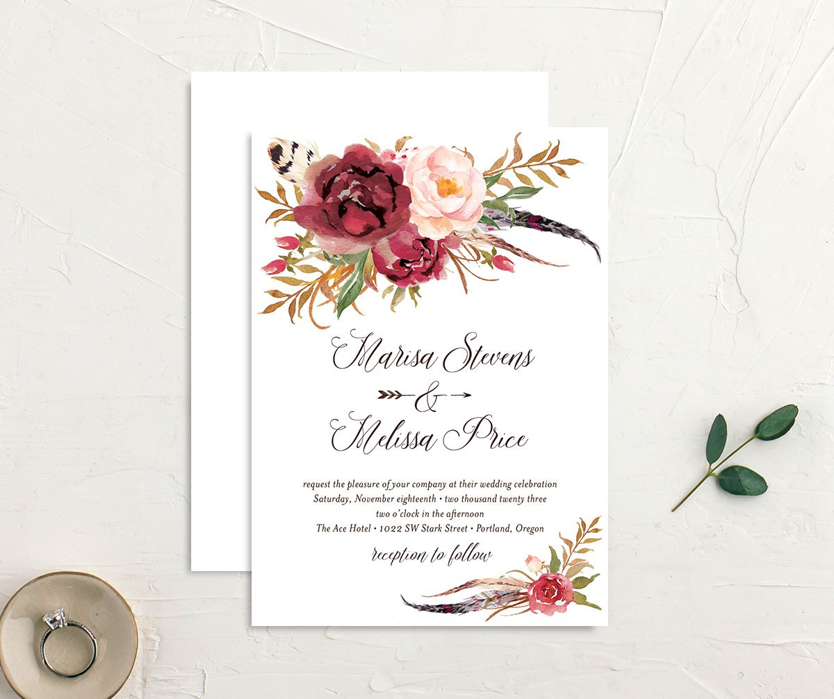 Bohemian Floral Wedding Invitation front and back burgundy