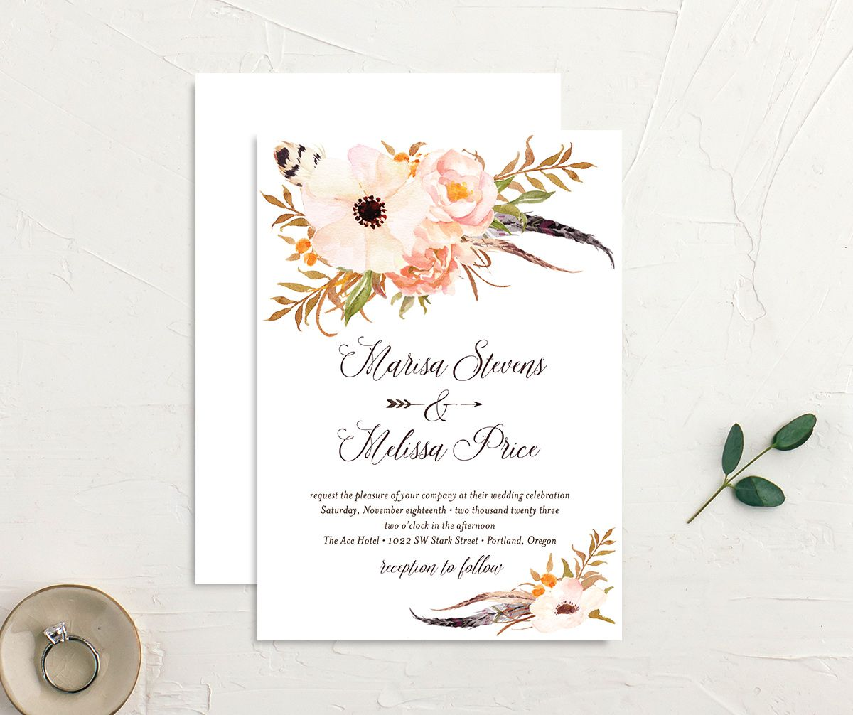 Bohemian Floral Wedding Invitation front and back peach
