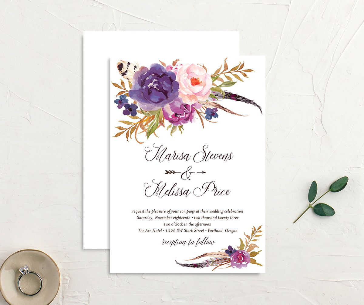 Bohemian Floral Wedding Invitation front and back purple