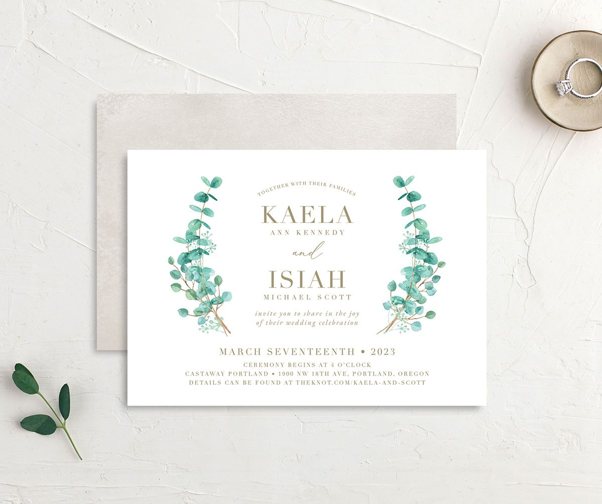 Elegant Eucalyptus Wedding Invitation front and back