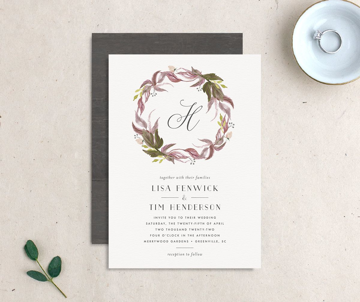 Leafy Wreath Wedding Invitation front and back purple