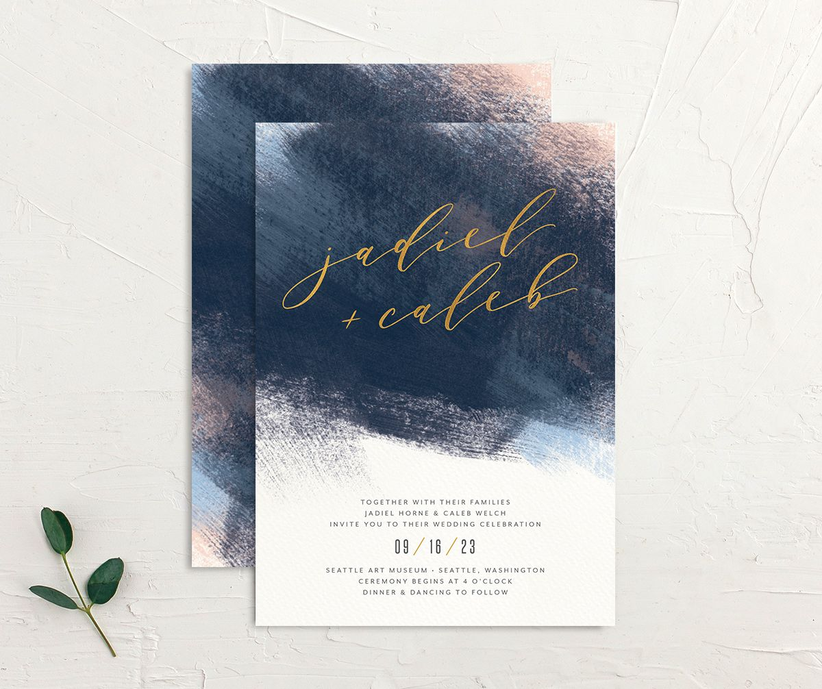 Modern Brushstroke Wedding Invitation front and back blue