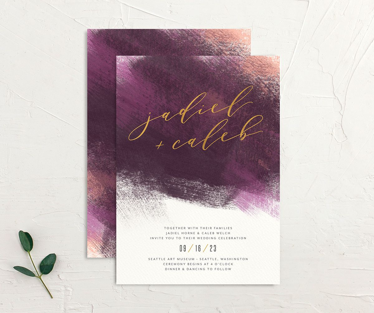 Modern Brushstroke Wedding Invitation front and back purple