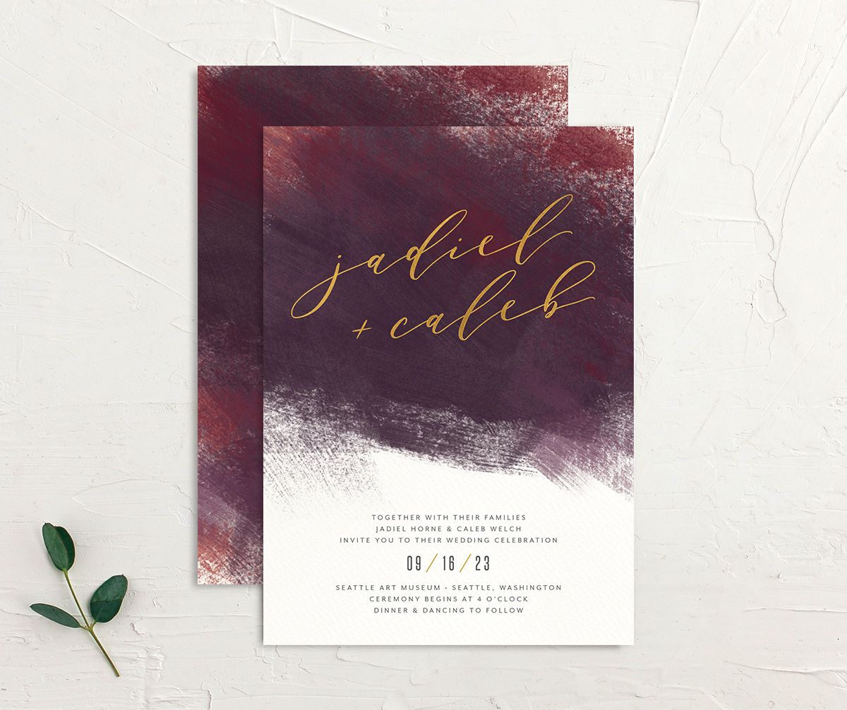 Modern Brushstroke Wedding Invitation front and back burgundy