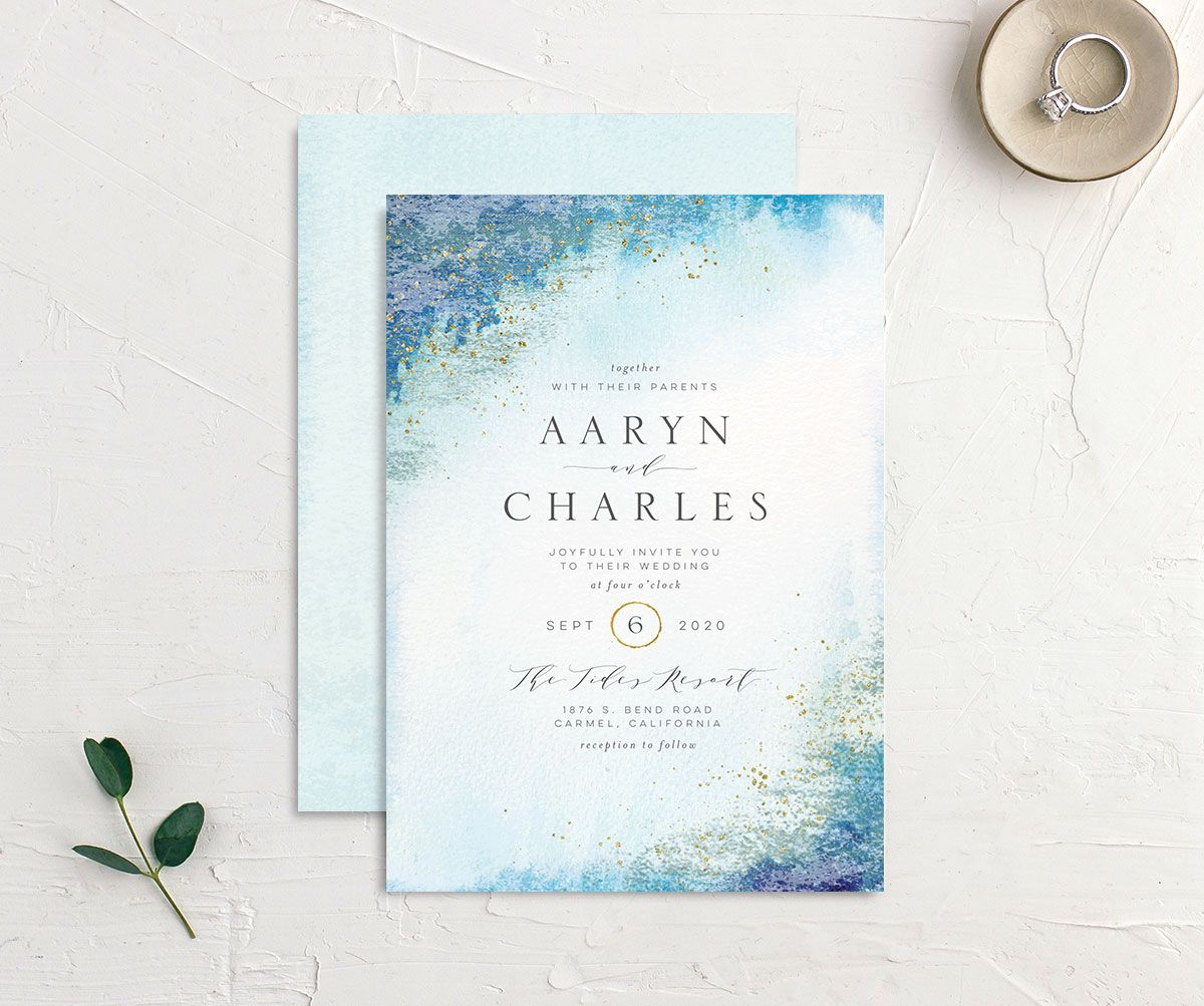 Organic Luxe Wedding Invitation front and back blue