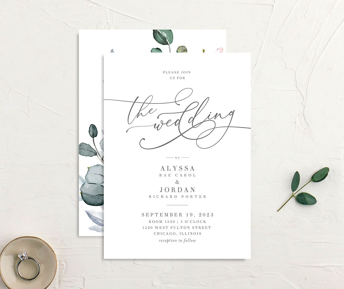 Romantic Calligraphy Wedding Invitation front and back mulberry