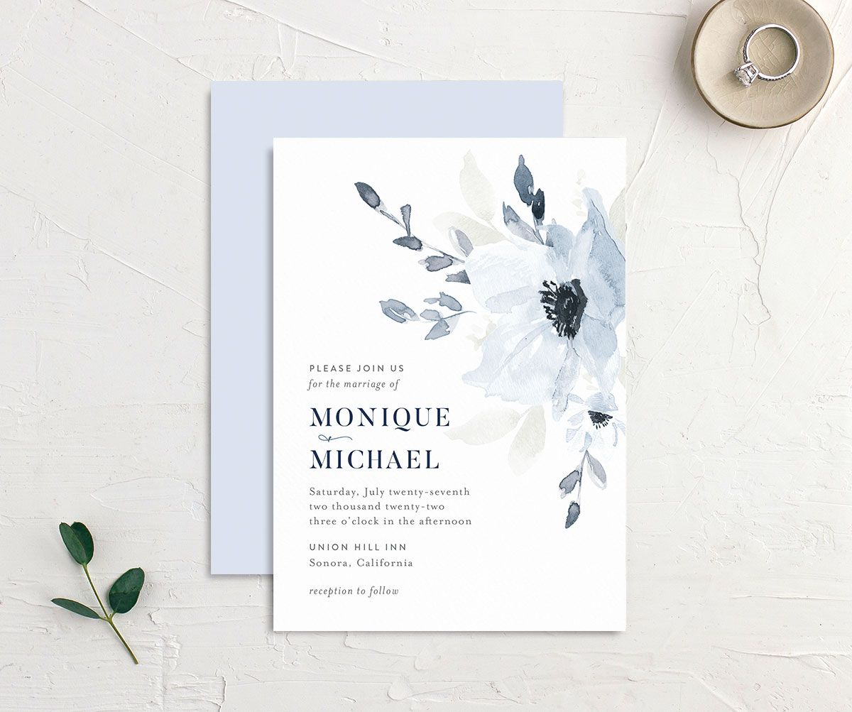 Shades of Blue Wedding Invitation front and back