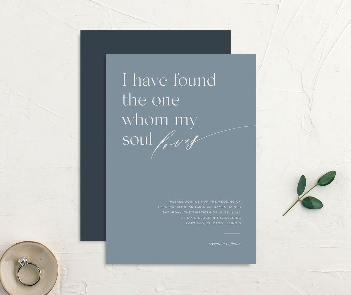 Soulmates Wedding Invitation front and back in blue