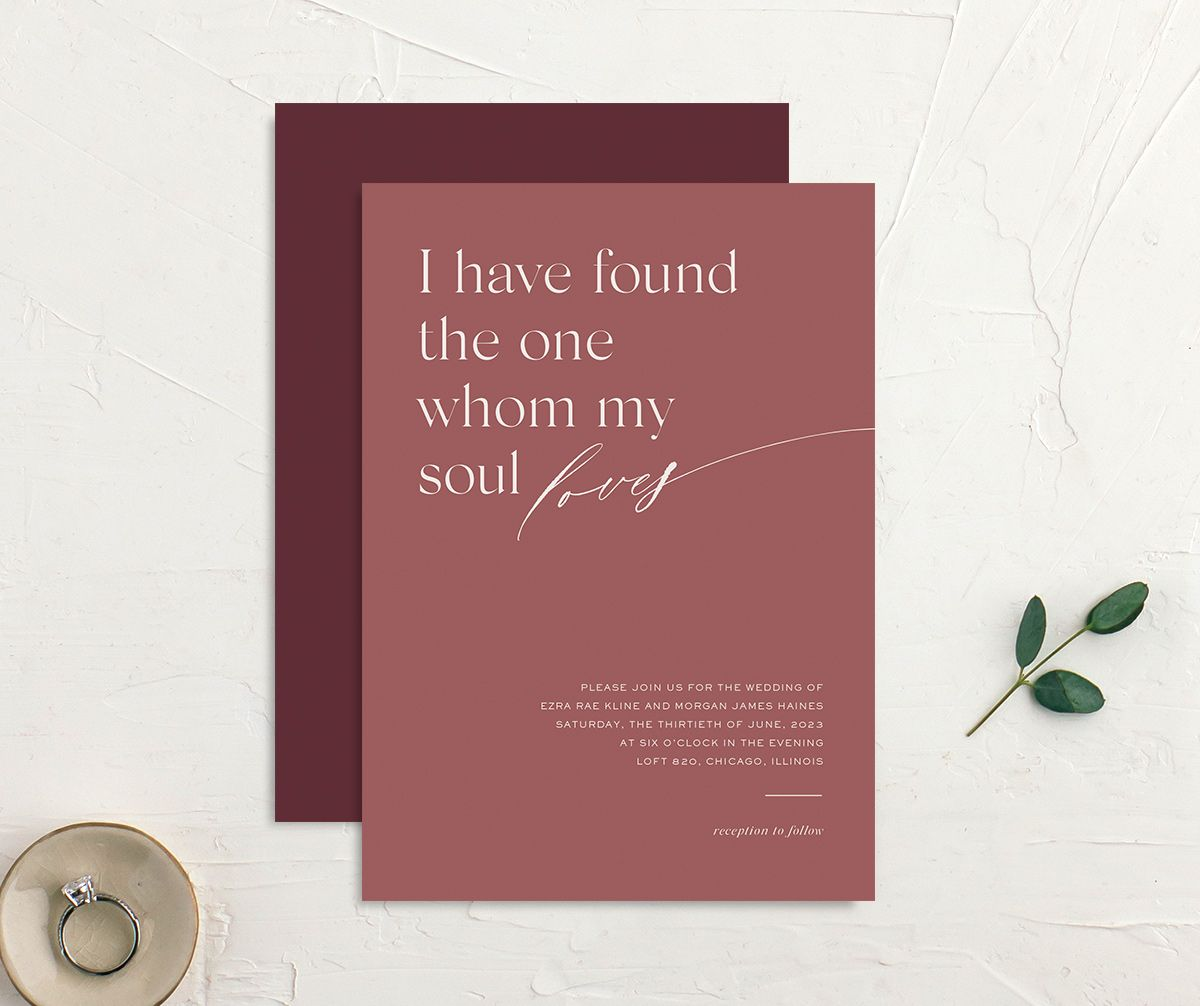Soulmates Wedding Invitation front and back in pink