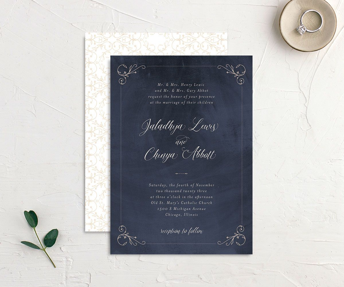 Vintage Luxe Wedding Invitation front and back blue