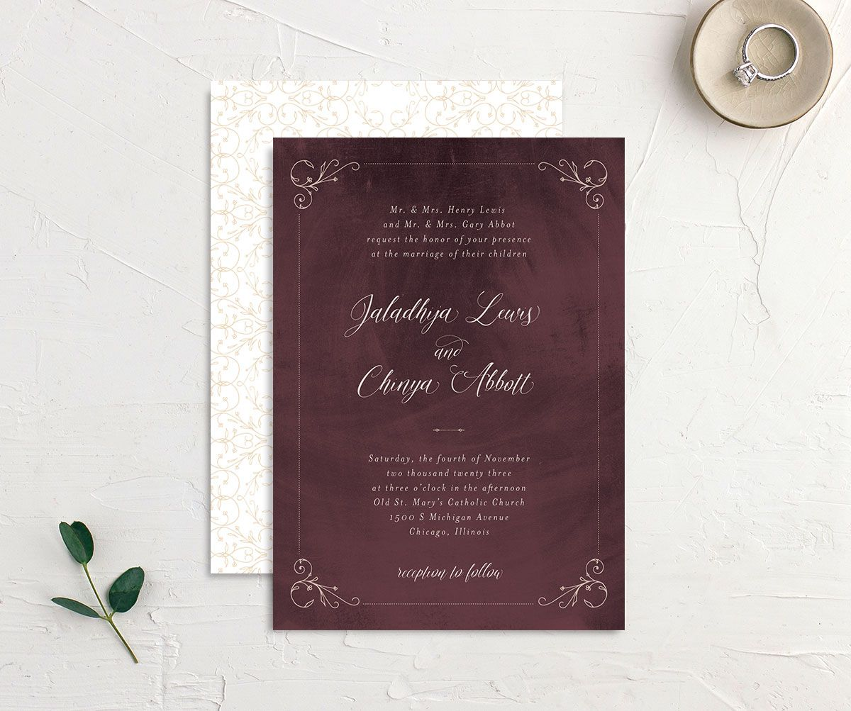 Vintage Luxe Wedding Invitation front and back red