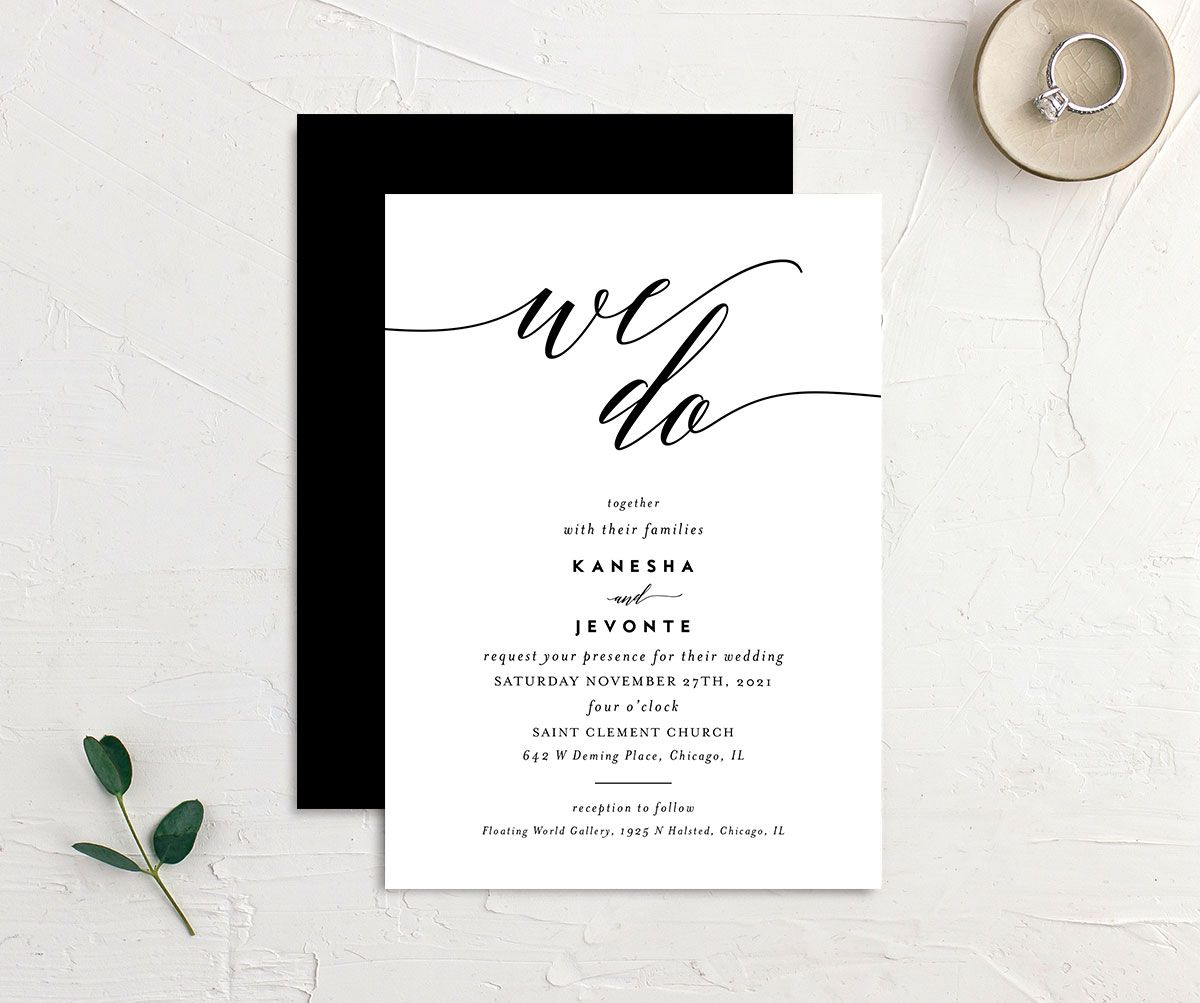 We Do Wedding Invitation front and back black