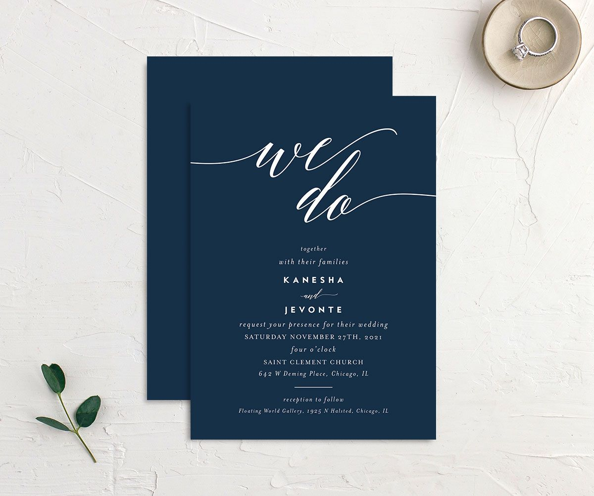 We Do Wedding Invitation front and back blue