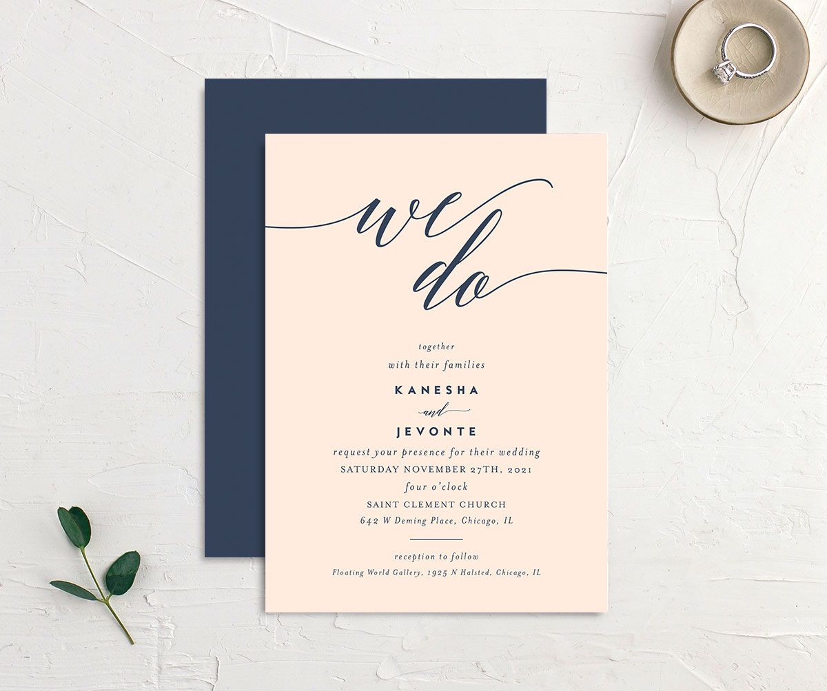 We Do Wedding Invitation front and back pink