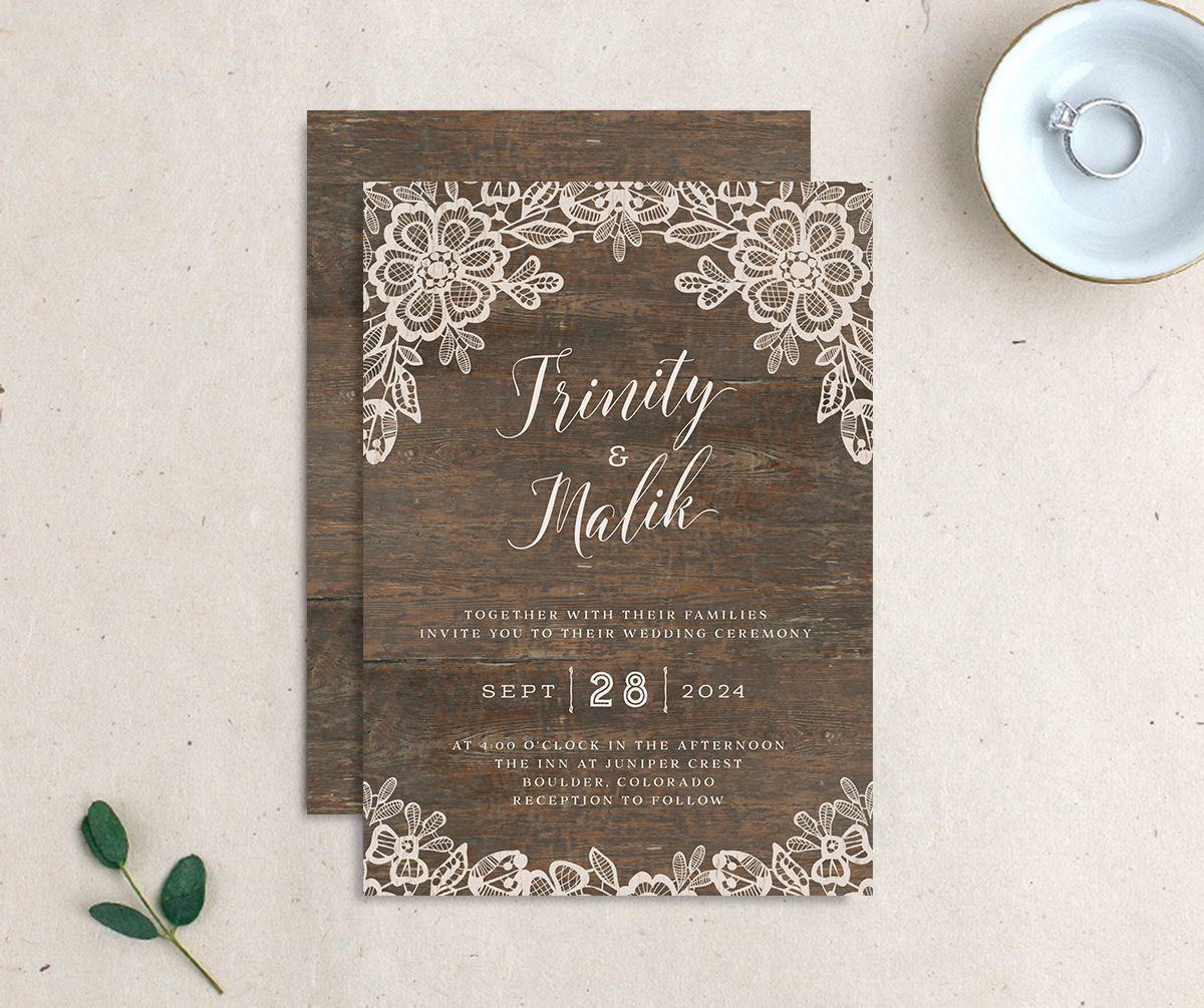 Woodgrain Lace Wedding Invitation front and back