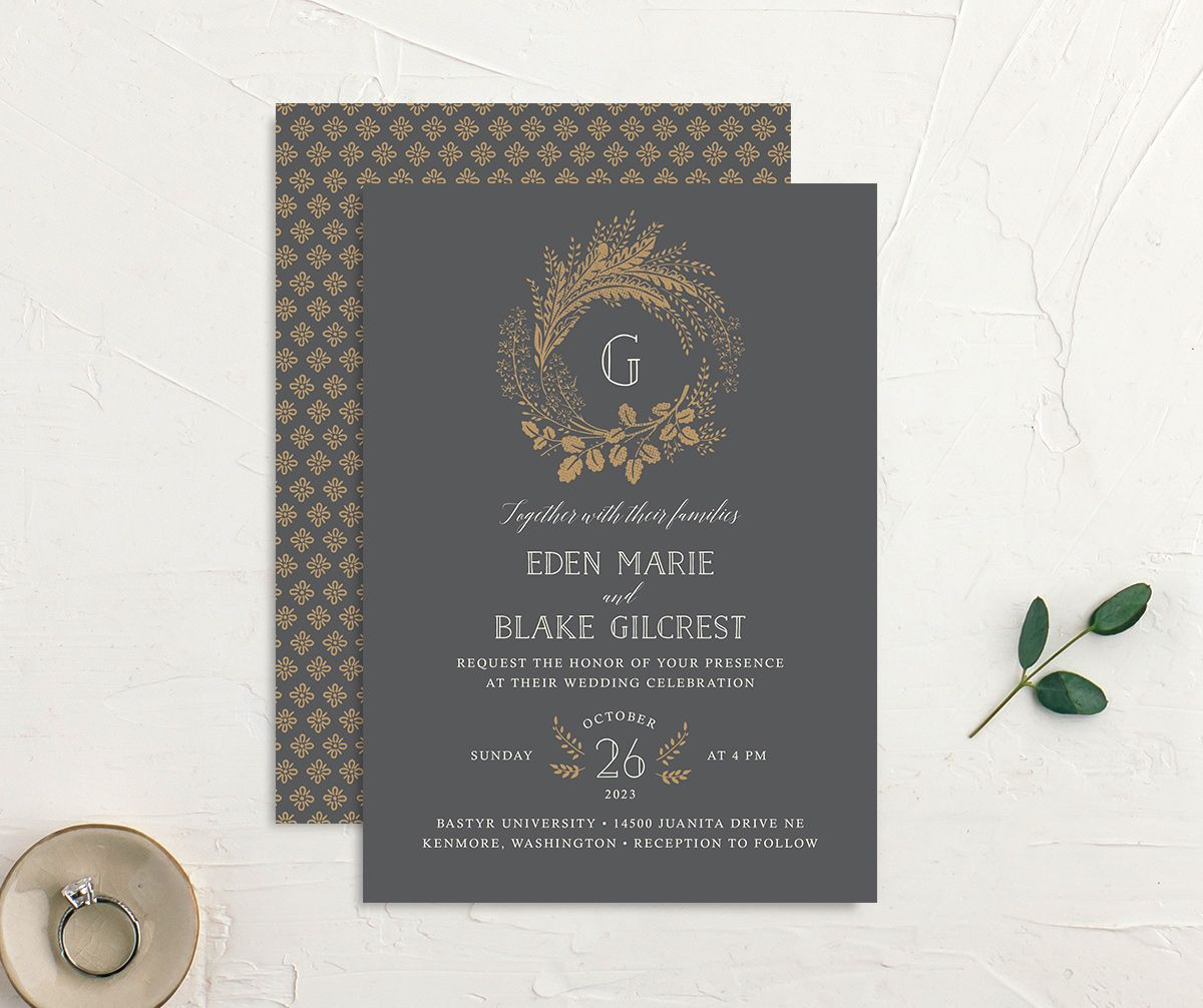 Woodsy Wreath Wedding Invitation front and back Grey