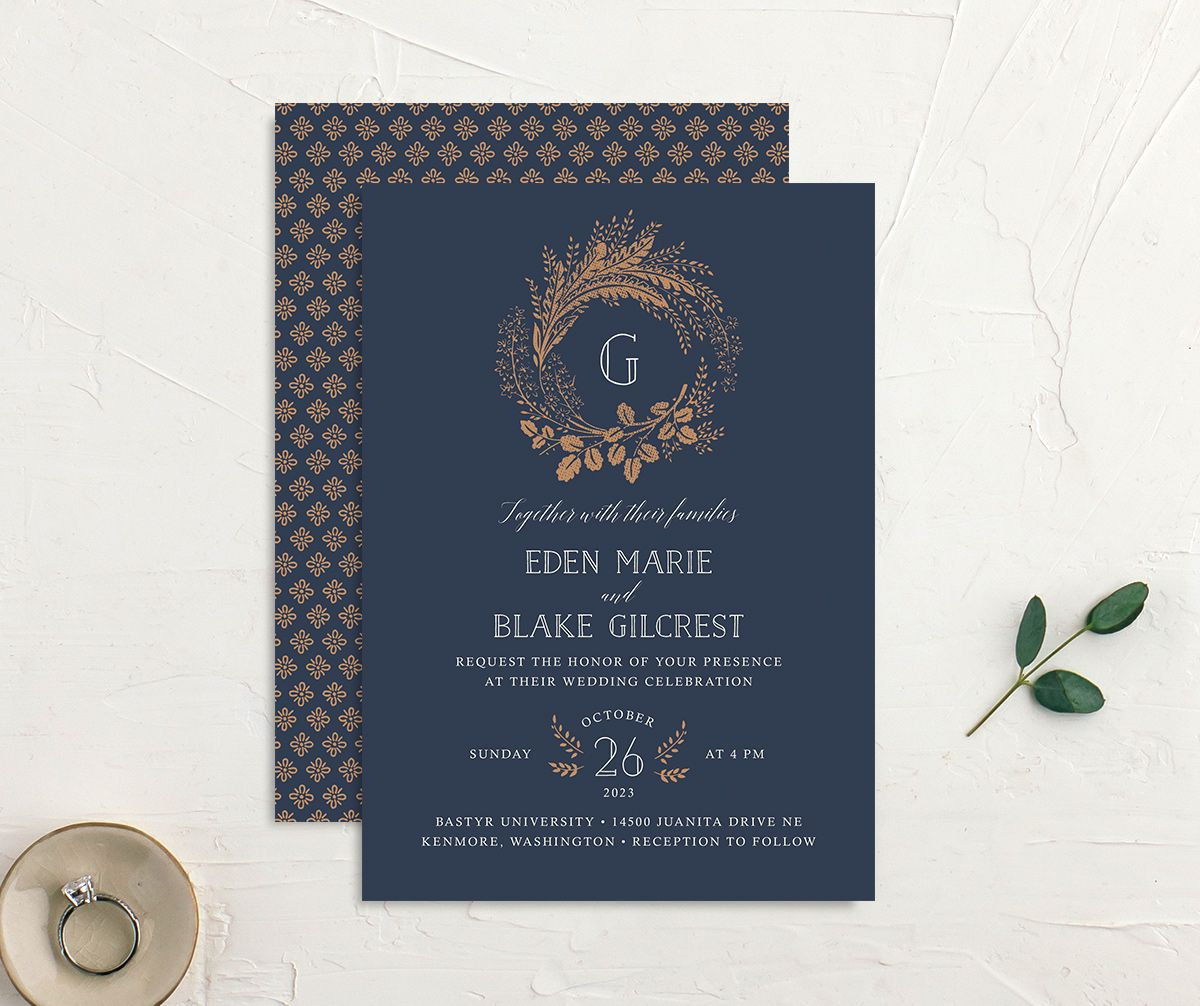 Woodsy Wreath Wedding Invitation front and back Navy