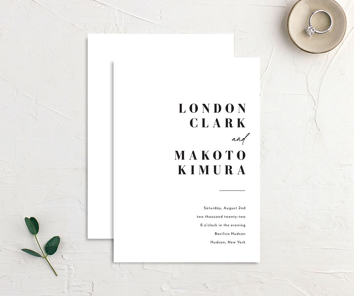 Modern Bodoni Wedding Invitation front & back