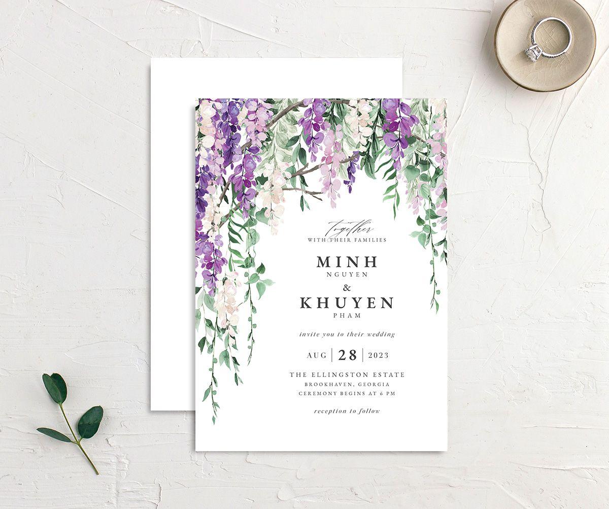 Romantic Wisteria Wedding Invitations | The Knot
