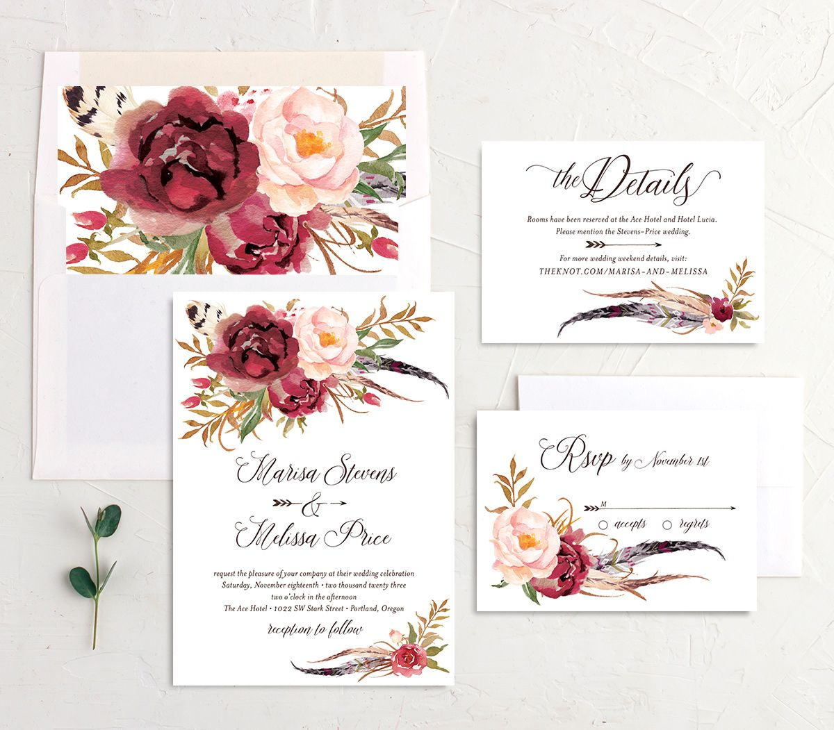 Bohemian Floral Wedding Suite burgundy