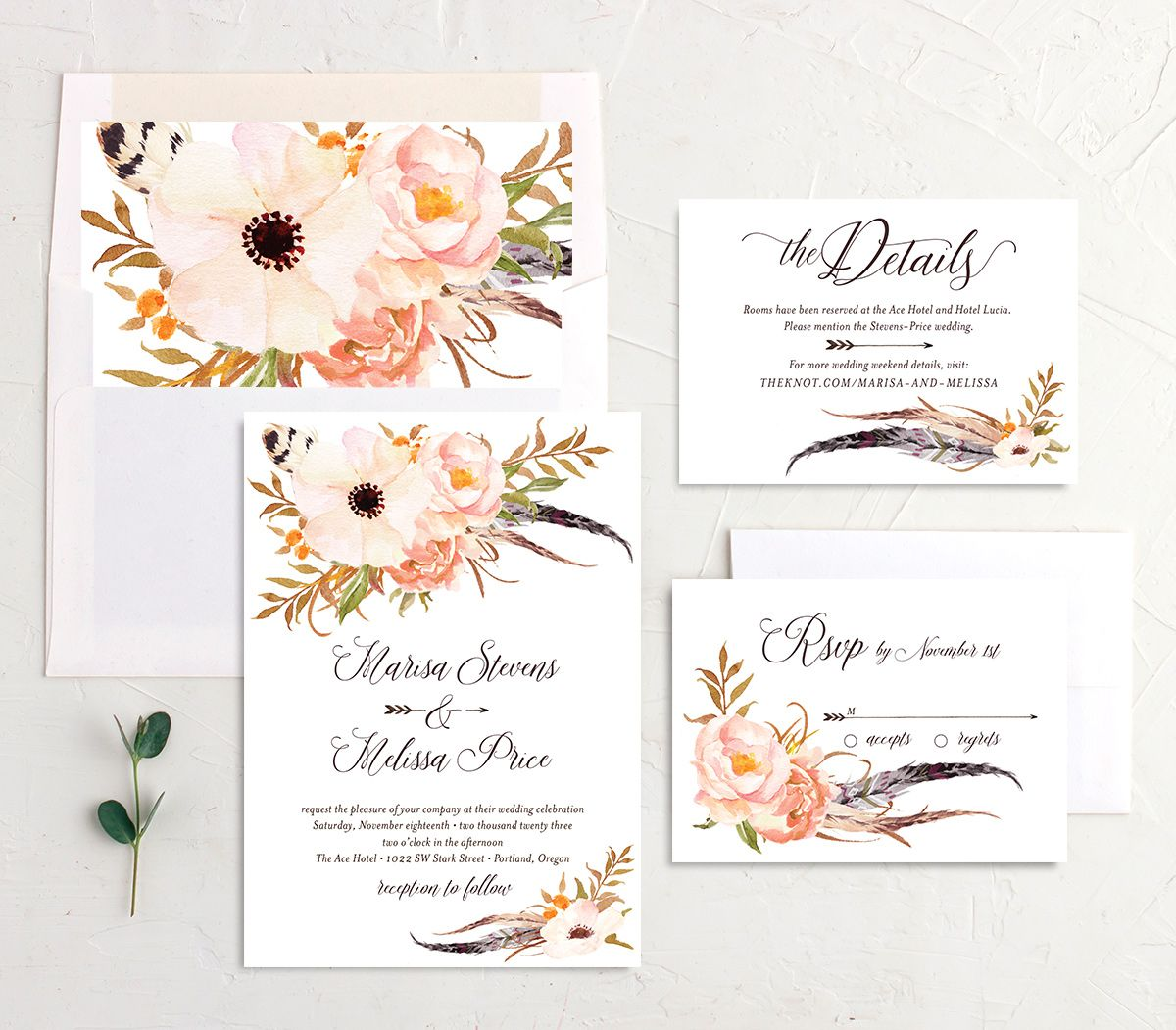 Bohemian Floral Wedding Suite peach