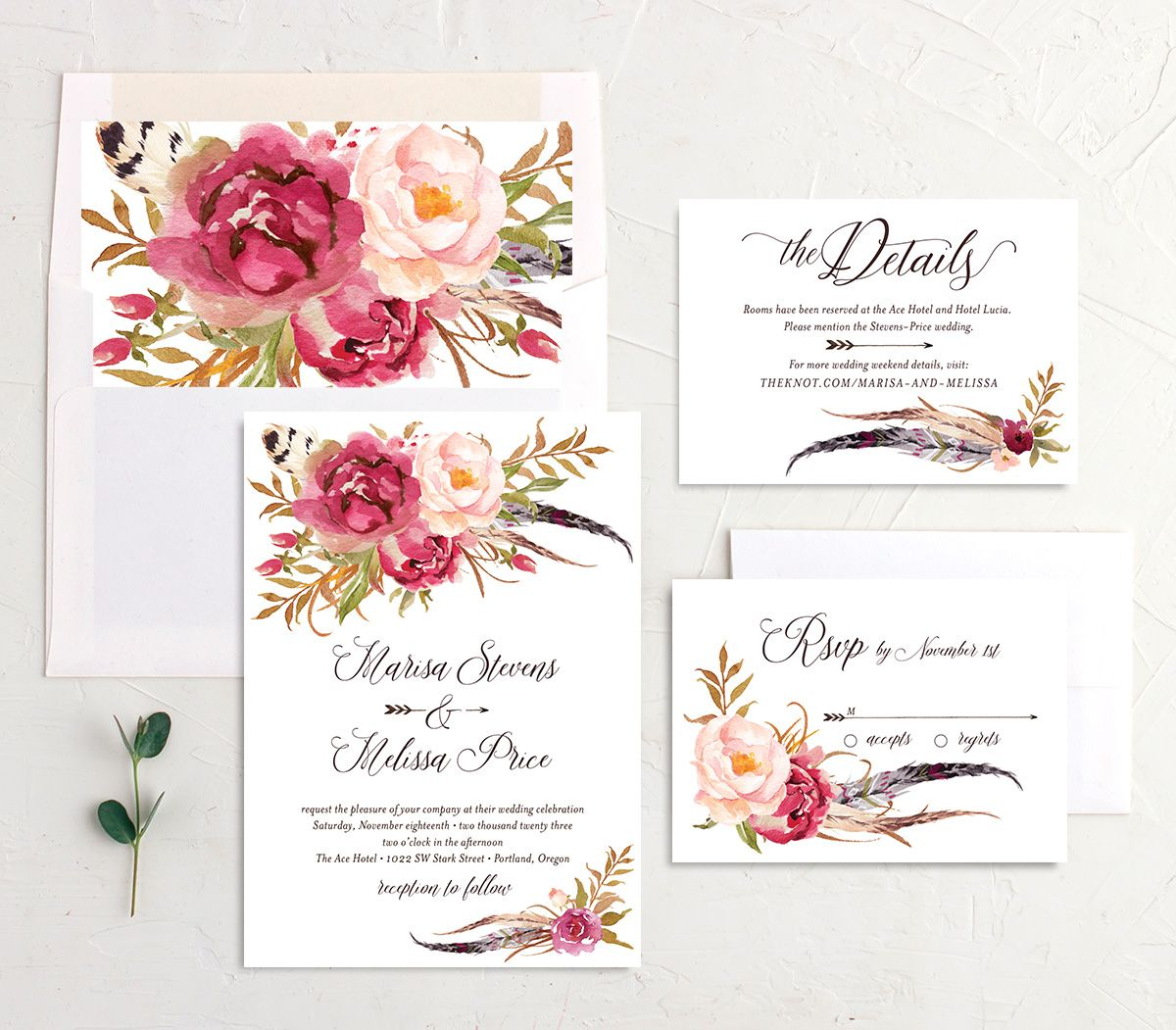 Bohemian Floral Wedding Suite pink