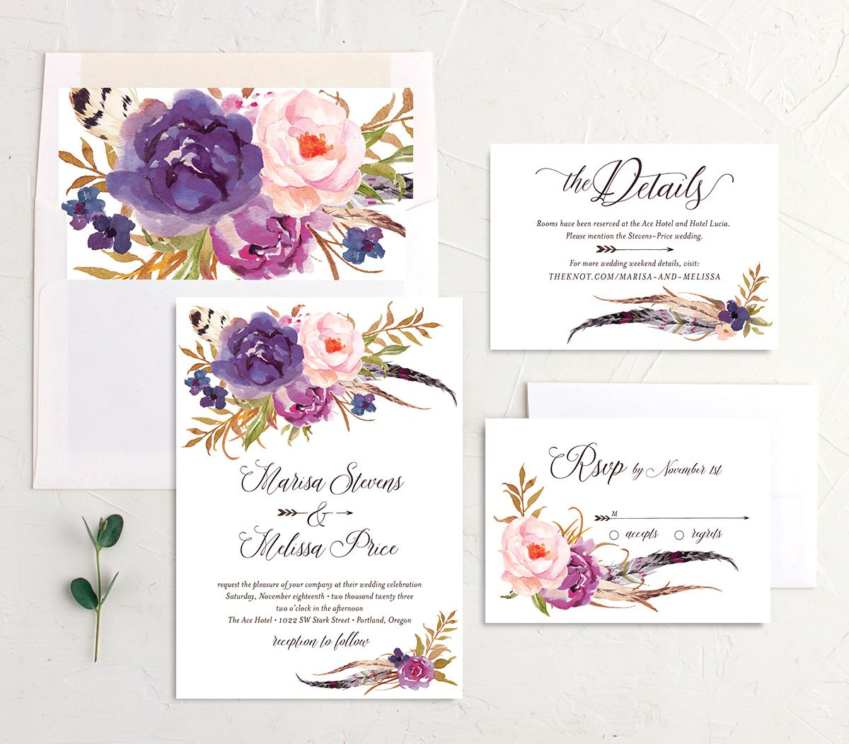 Bohemian Floral Wedding Suite purple